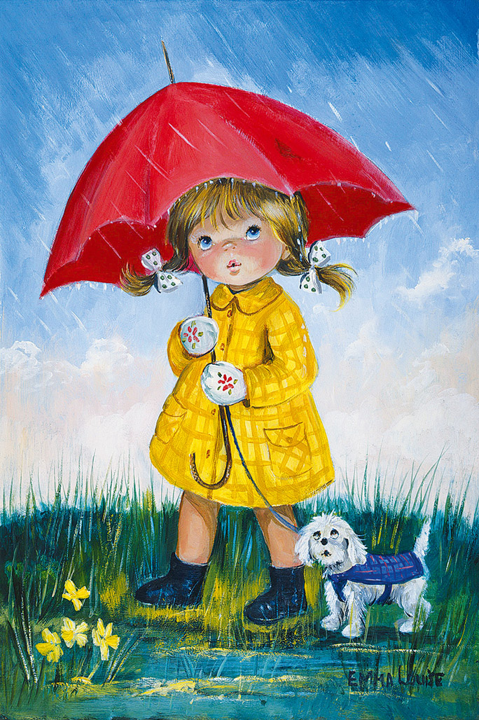 Фотографии, рисунок девочка под дождем с зонтиком